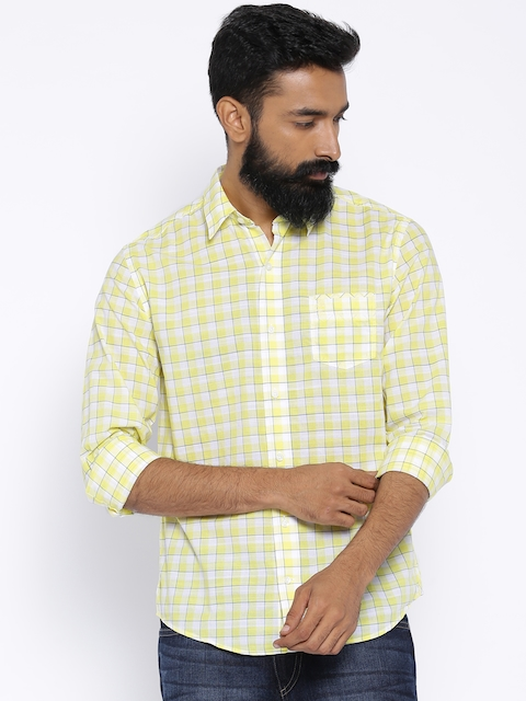 Timberland Yellow & White Checked Slim Fit Casual Shirt