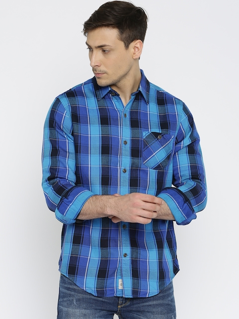 Timberland Men Blue Checked Casual Shirt
