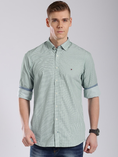 Tommy Hilfiger Green Printed Slim Fit Casual Shirt