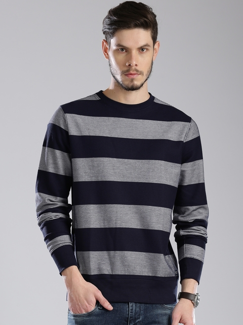 Tommy Hilfiger Navy & White Striped Sweatshirt