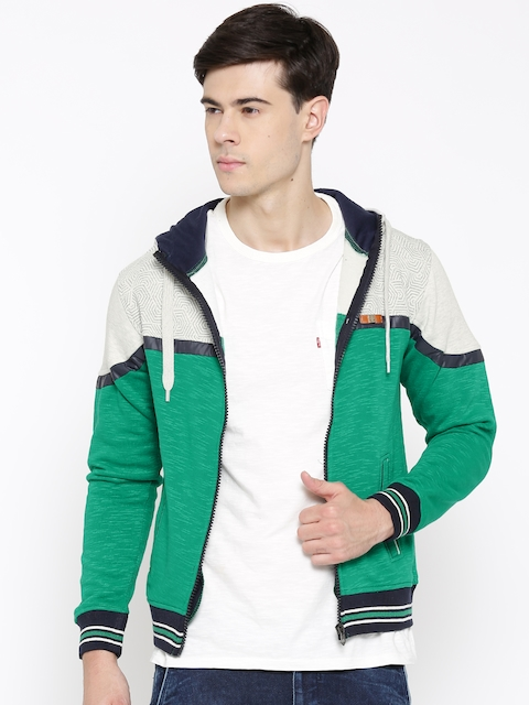 Fort Collins Green & Off-White Colourblocked Hooded Sweatshirt