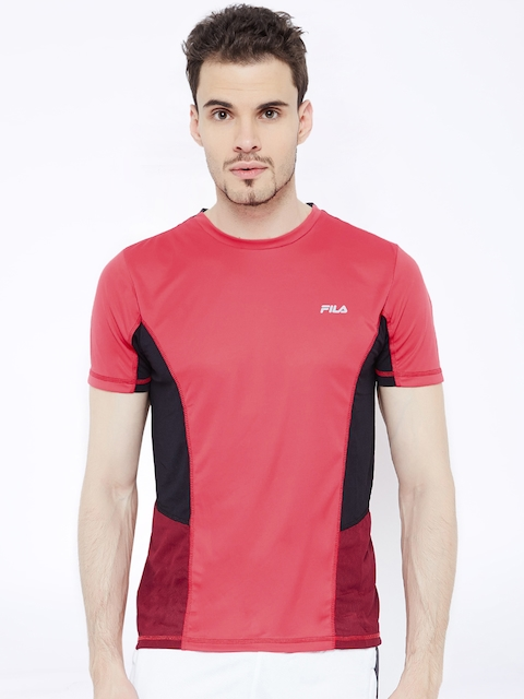 FILA Men Red Solid Round Neck T-Shirt