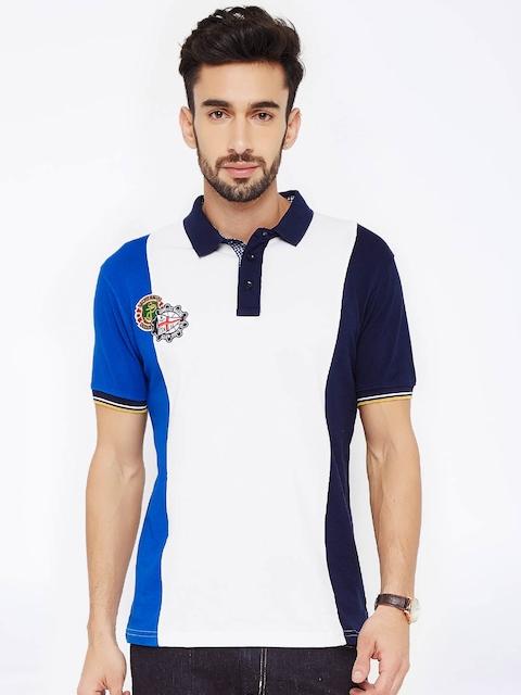 FILA Men White Colourblocked Polo T-Shirt