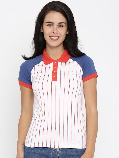 FILA Women White Striped Polo T-shirt