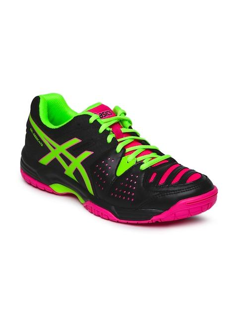 ASICS Women Black & Pink Gel-Dedicate 4 Tennis Shoes