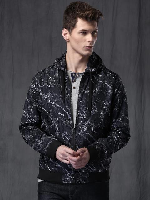 WROGN Navy & White Printed Hooded Slim Fit Jacket