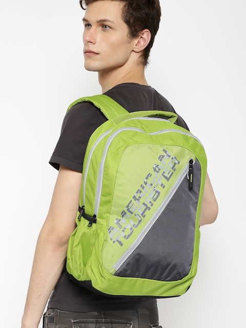 AMERICAN TOURISTER Unisex Green & Charcoal Grey Printed Backpack