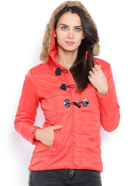 Campus Sutra Red Hooded Jacket
