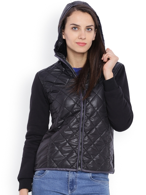 Campus Sutra Black Quilted Hooded Jacket