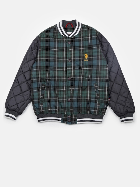 U.S. Polo Assn. Kids Boys Green & Blue Checked Quilted Jacket