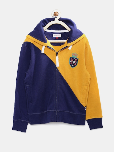 U.S. Polo Assn. Kids Boys Yellow & Navy Hooded Sweatshirt