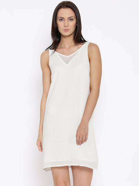 Vero Moda Off-White Polyester Shift Dress