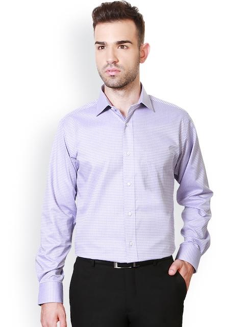 Van Heusen Lavender Checked Custom Fit Formal Shirt