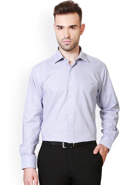 Van Heusen White Checked Custom Fit Formal Shirt