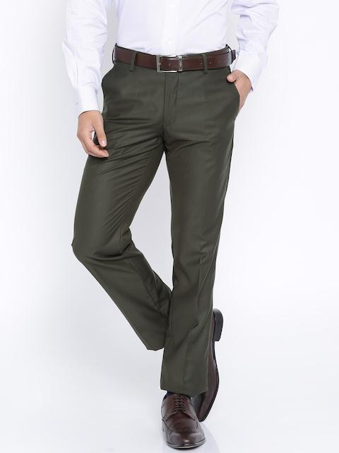 Van Heusen Olive Green Slim Fit Formal Trousers