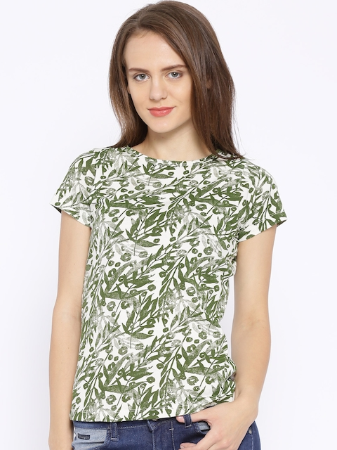 Wrangler White & Olive Green Printed T-shirt