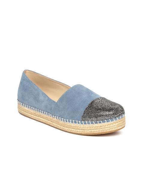 Steve Madden Women Blue Embellished Leather Espadrilles