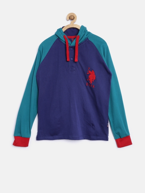 U.S. Polo Assn. Kids Boys Blue Colourblocked Sweatshirt