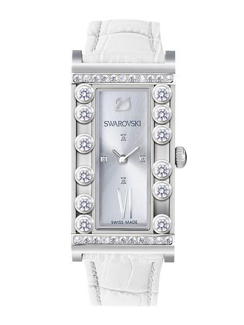 SWAROVSKI Women Silver-Toned Lovely Crystals Watch