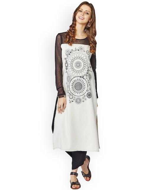 Global Desi White Kurta with Printed Detail