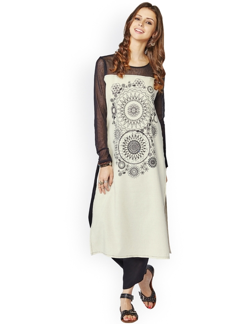Global Desi White Kurta with Printed Detail