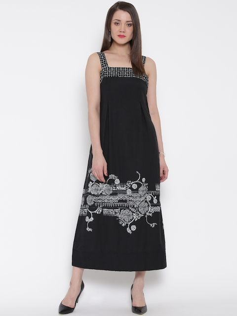 Global Desi Women Black Printed Maxi Dress