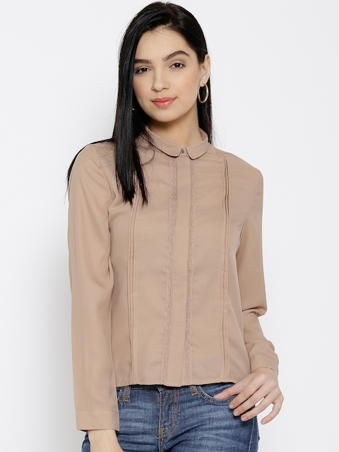Wills Lifestyle Beige Polyester Pleated Shirt