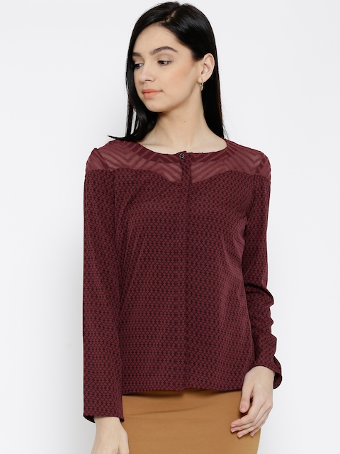 Wills Lifestyle Maroon Polyester Printed Top