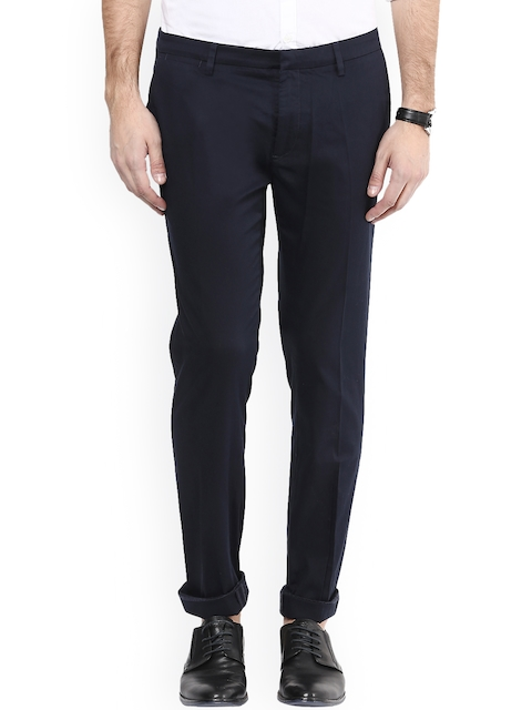 Mufti Navy Pencil Fit Chino Trousers