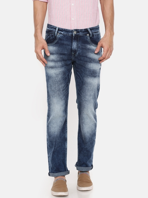Mufti Blue Straight Fit Stretchable Jeans