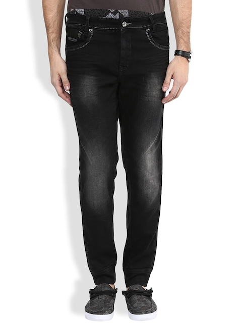 Mufti Black Cuffed Stretchable Jeans