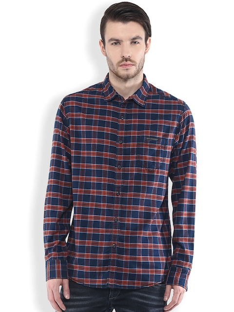 Mufti Navy & Red Checked Slim Fit Casual Shirt