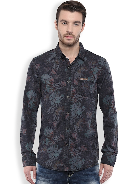 Mufti Grey Printed Slim Fit Casual Shirt