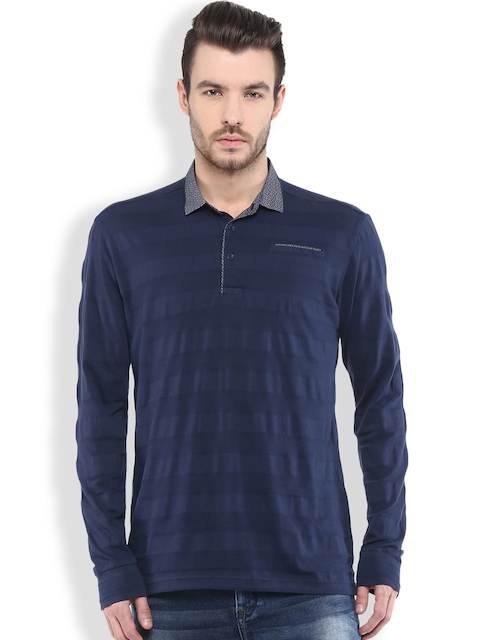 Mufti Navy Striped Slim Fit Polo T-shirt