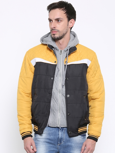 Fort Collins Mustard Yellow & Black Hooded Bomber Jacket