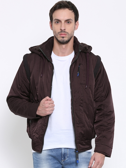Fort Collins Burgundy Bomber Jacket with Detachable Sleeves