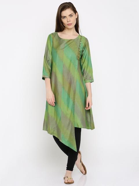 Anouk Women Green Woven Design A-Line Kurta