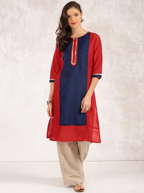 Anouk Women Blue & Red Colourblocked Straight Kurta