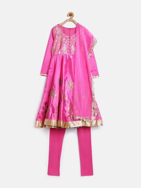 BIBA Girls Pink Printed Anarkali Churidar Kurta with Dupatta