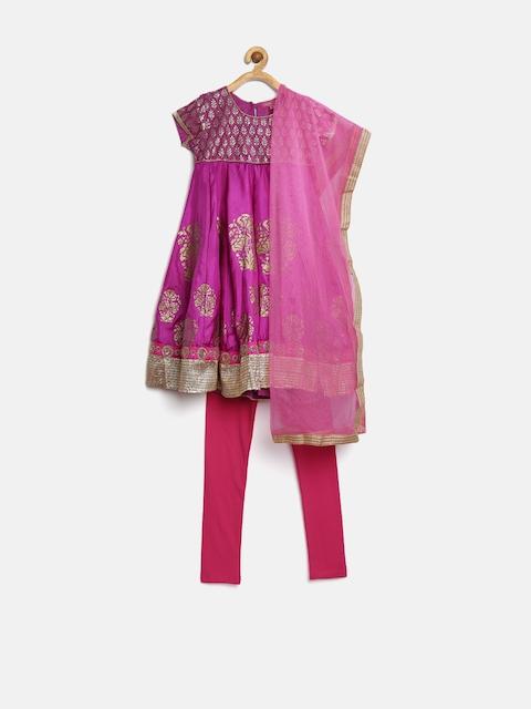 BIBA Girls Purple & Pink Printed Anarkali Churidar Kurta with Dupatta