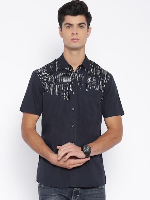 Wrangler Navy Printed Casual Shirt