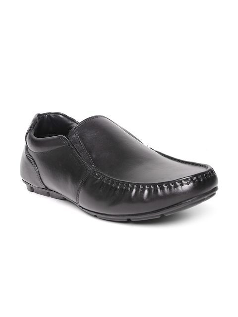 Red Tape Men Black Leather Slip-Ons