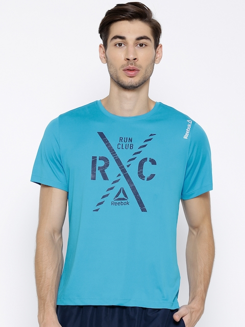 Reebok Blue RE SS RC CRSTEE Printed Running T-shirt