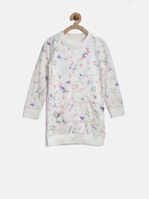 mothercare Girls Off-White Floral Print Sweatshirt