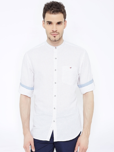 Wills Lifestyle Men White Printed Casual Shirt