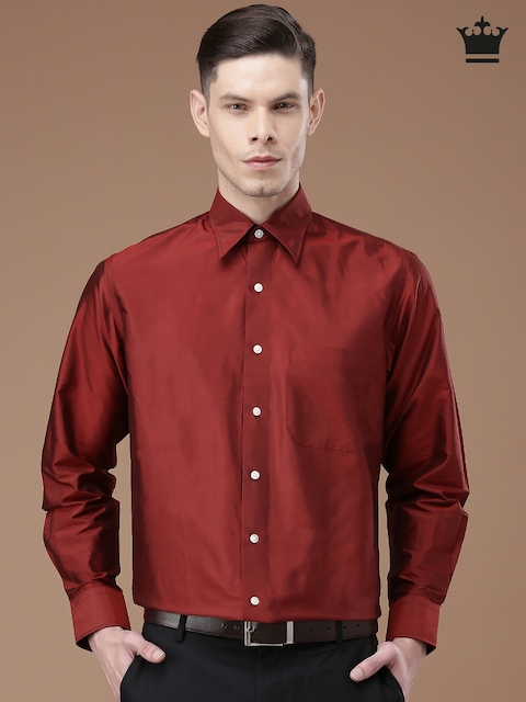 Van Heusen Maroon Silk Formal Shirt