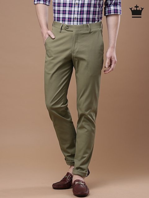 Louis Philippe Men Beige Slim Fit Smart Casual Trousers