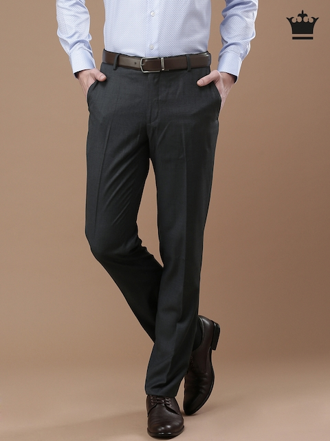 Louis Philippe Charcoal Grey Ultra Slim Fit Formal Trousers