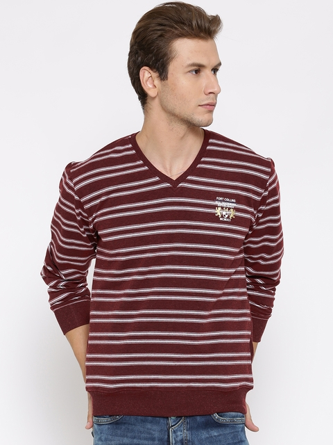 Fort Collins Maroon & Off-White Striped Sweatshirt