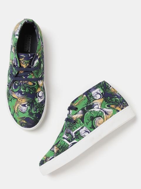 Kook N Keech Women Green & Navy Printed Mid-Top Sneakers